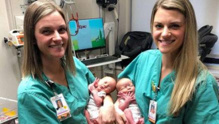 Медсёстры-близнецы помогли новорожденным близнецам появиться на свет