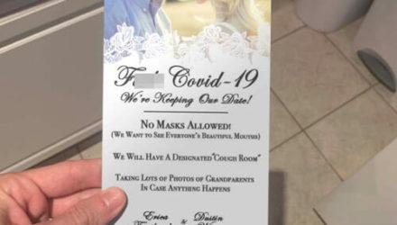 В ироничном приглашении на свадьбу гостям запретили надевать маски