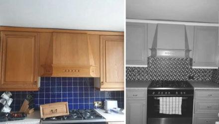 Фотография отремонтированной кухни выглядит как чёрно-белая