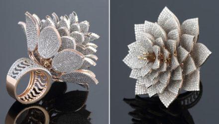 Ювелиры создали рекордное бриллиантовое кольцо в виде цветка