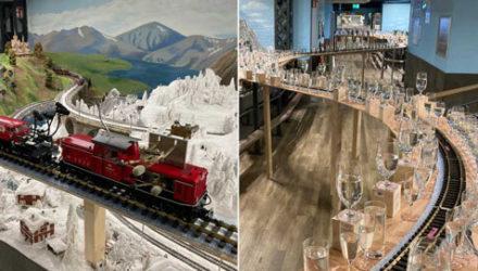 Миниатюрный поезд исполнил самую длинную мелодию на стеклянных стаканах